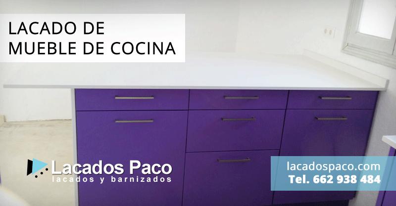 Trabajo de lacado de mueble de cocina en dos colores en - Muebles de cocina alicante ...